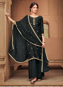 Silk Black Trendy Palazzo Salwar Kameez