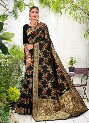 Silk Black Weaving Traditional Saree