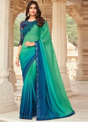 Silk Blue and Sea Green Shaded Saree