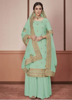 Silk Blue Border Salwar Suit