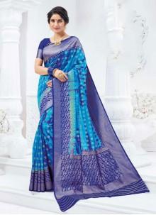 Silk Blue Contemporary Saree