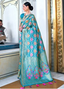 Silk Blue Designer Saree