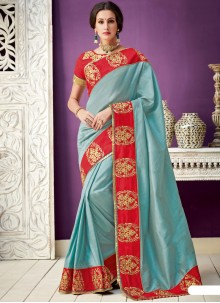 Silk Blue Designer Saree