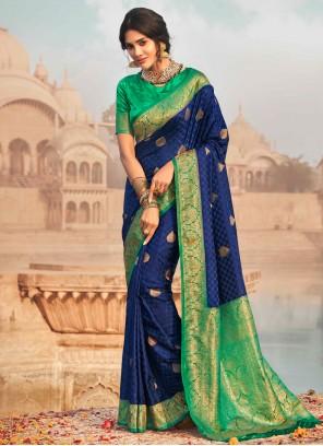 Silk Blue Fancy Classic Designer Saree