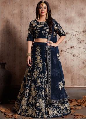 Silk Blue Lehenga Choli