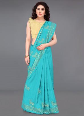 Silk Blue Print Casual Saree