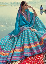 Silk Blue Print Readymade Lehenga Choli
