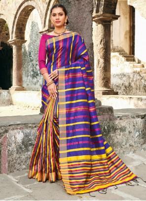 Silk Blue Printed Classic Saree