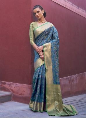 Silk Blue Weaving Traditional Saree