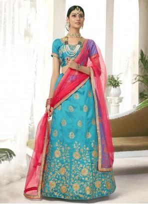 Silk Blue Zari Lehenga Choli