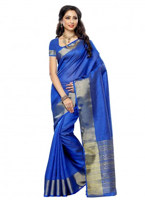 Silk Blue Zari Traditional Saree