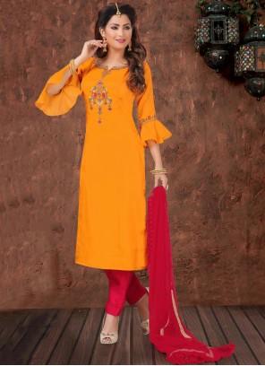 Silk Bollywood Orange Salwar Kameez