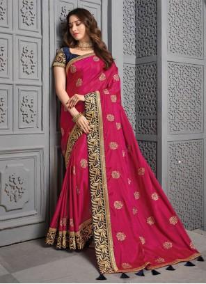 Silk Pink Bollywood Saree