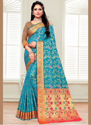 Silk Aqua Blue Bollywood Saree