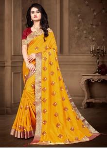Silk Bollywood Yellow Saree