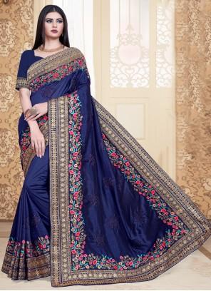 Silk Navy Blue Bollywood Saree