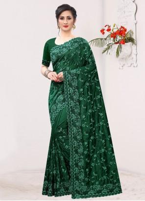 Silk Bollywood Saree in Sea Green