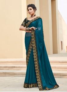 Silk Bollywood Saree in Teal