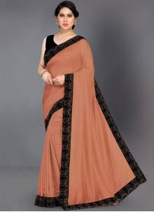 Silk Border Brown Classic Saree