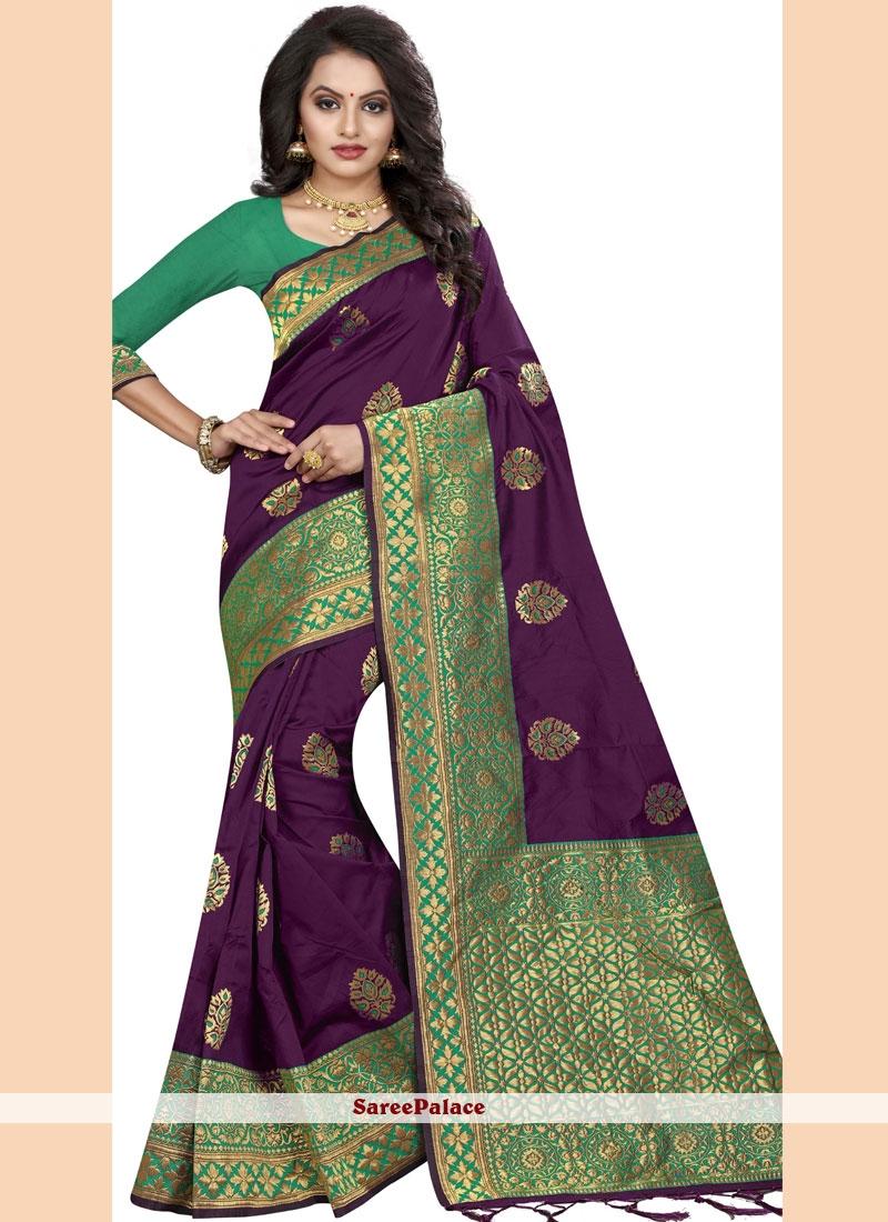 Silk Border Purple Classic Saree