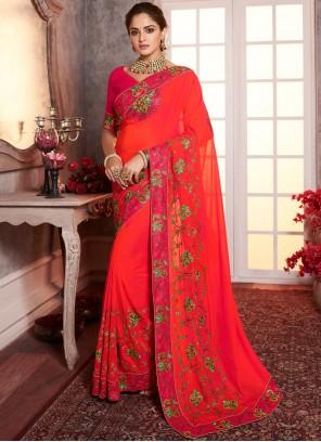 Silk Border Red Designer Saree