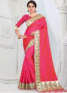 Silk Border Rose Pink Classic Saree