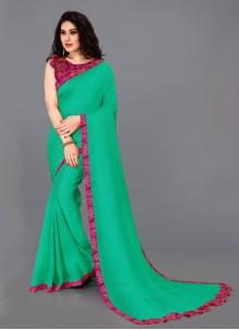 Silk Border Teal Bollywood Saree