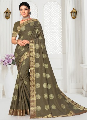 Silk Brown Embroidered Casual Saree
