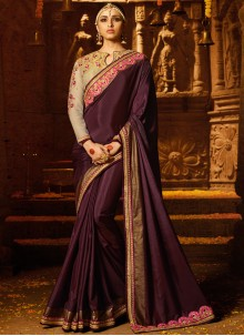 Silk Brown Zari Work Trendy Saree