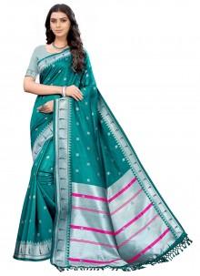 Silk Woven Teal Casual Saree