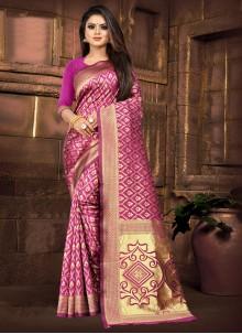 Pink Silk Weaving Zari Classic Saree