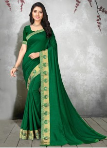 Silk Casual Sea Green Contemporary Saree