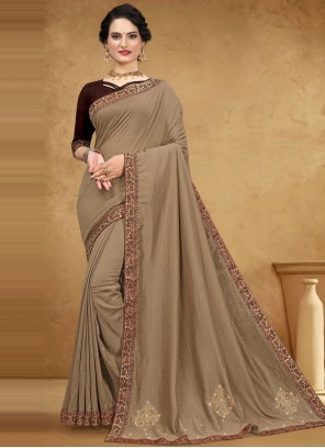 Brown Silk Casual Designer Saree