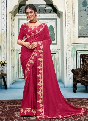 Hot Pink Embroidered Silk Casual Saree