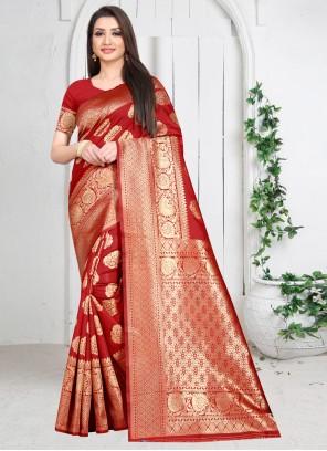 Silk Casual Saree in Maroon