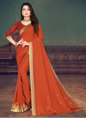Silk Casual Saree in Orange