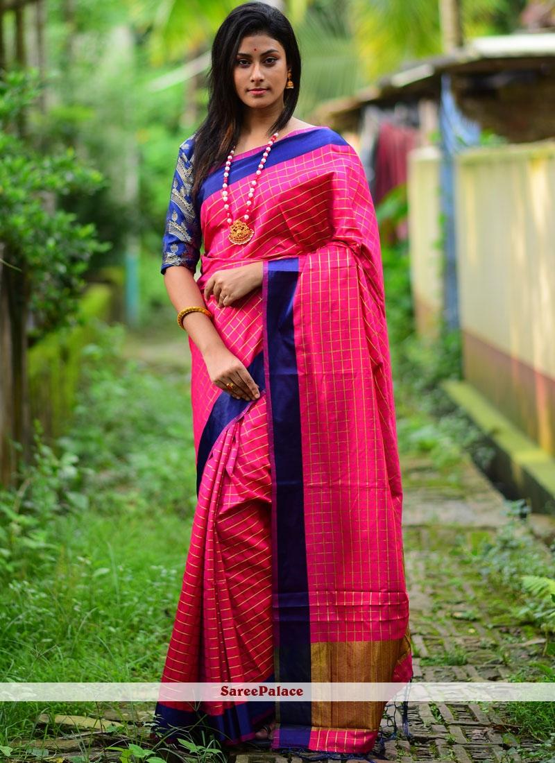 Silk Casual Saree in Pink