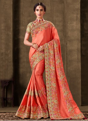 Silk Ceremonial Bollywood Peach Saree