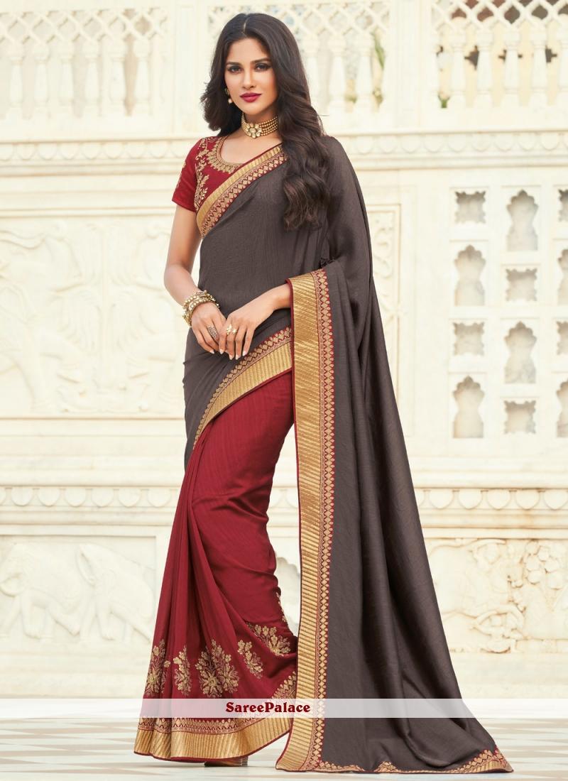 Grey And Maroon Silk Ceremonial Designer Half N Half Saree