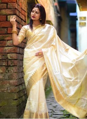 Off White Silk Ceremonial Designer Traditional Saree