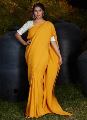 Silk Ceremonial Traditional Yellow Designer Saree