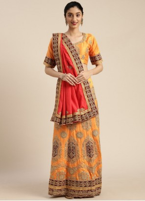 Silk Ceremonial Mustard Traditional Saree