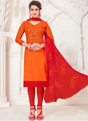 Orange Silk Churidar Suit