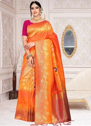 Orange Silk Classic Designer Saree