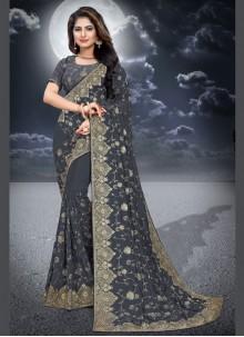 Silk Classic Designer Saree in Grey