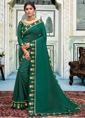 Sea Green Silk Embroidered Classic Saree