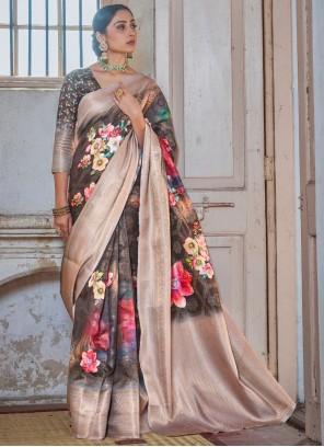 Black Silk Printed Classic Saree
