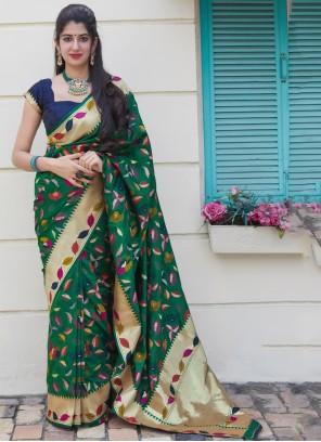 Silk Classic Saree in Green