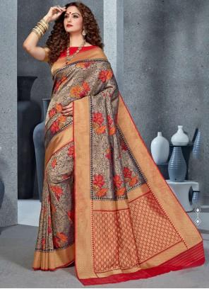 Silk Classic Saree in Grey