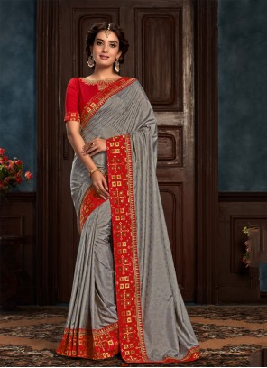 Silk Classic Saree in Grey